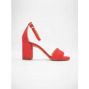 Sandali Tacco Medio Rosso 70mm Con Tallonetto Colbaffo® Camoscio art. 3368ROSSO