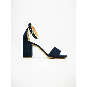 Sandali Tacco Medio Blu 70mm Con Tallonetto Colbaffo® Camoscio art. 3368BLU