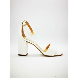 Sandali Tacco Medio Bianco 70mm Con Tallonetto Colbaffo® Pelle art. 3368BIA