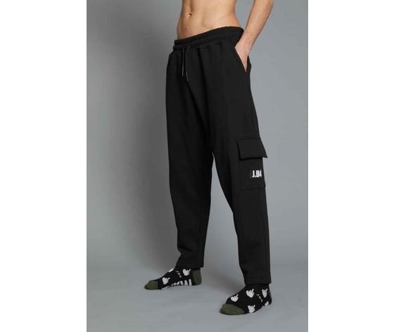 Pantalone uomo nero in felpa con tasca laterale con patch logo j.b4 regular art. mp0901002