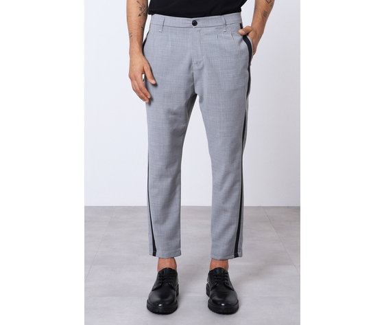 Pantalone uomo grigio con bande nere laterali misto lana imperial art. pc9kzajstn
