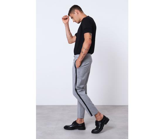 Pantalone uomo grigio con bande nere laterali misto lana imperial art. pc9kzajstn 1