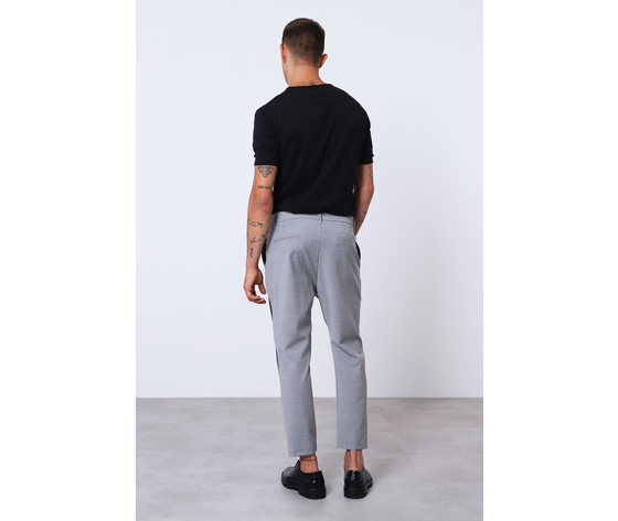Pantalone uomo grigio con bande nere laterali misto lana imperial art. pc9kzajstn 2