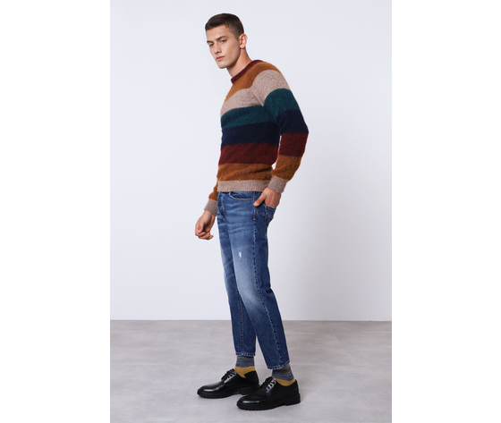 Jeans uomo blu d%c3%a9lav%c3%a9 cropped con abrasioni imperial art. p372mlud49 1