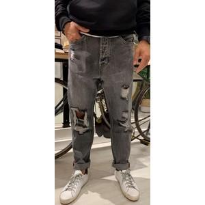 Jeans Uomo Colore Unico Cropped Effetto Used Berna art. BER205103