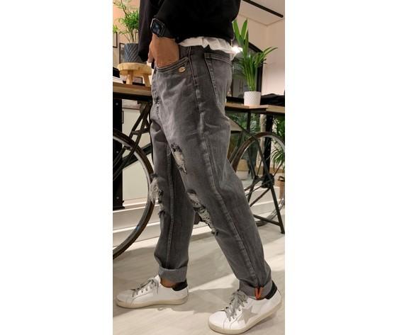 Jeans uomo colore unico cropped effetto used berna art. ber205103 1