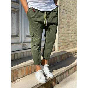 Pantalone Uomo Verde Militare Cargo Regular Elastico in Vita Tematico art. TW21015