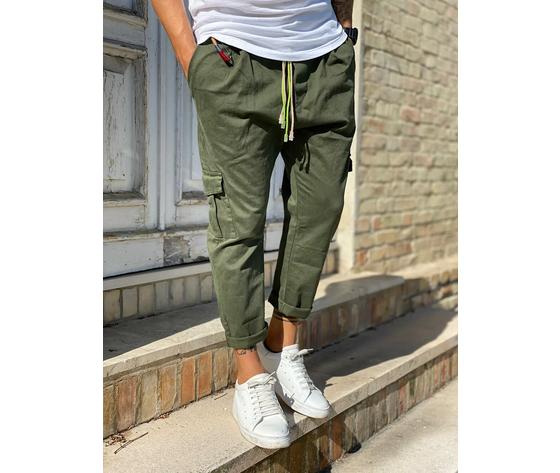Pantalone uomo verde militare cargo regular elastico in vita tematico art. tw21015 1