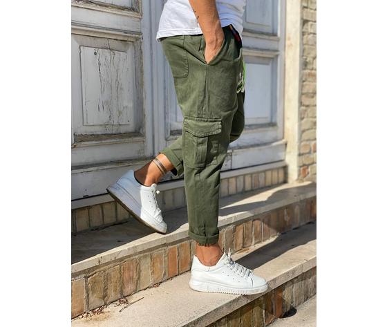Pantalone uomo verde militare cargo regular elastico in vita tematico art. tw21015 2