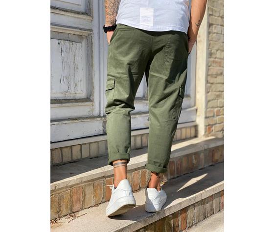 Pantalone uomo verde militare cargo regular elastico in vita tematico art. tw21015 3