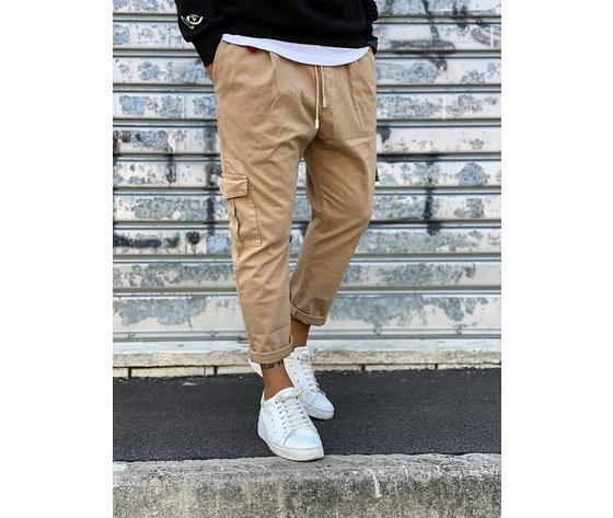 Pantalone uomo beige cargo regular elastico in vita tematico art. tw21015 b 1
