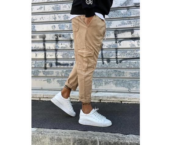 Pantalone uomo beige cargo regular elastico in vita tematico art. tw21015 b 2