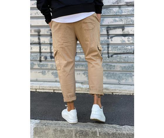 Pantalone uomo beige cargo regular elastico in vita tematico art. tw21015 b