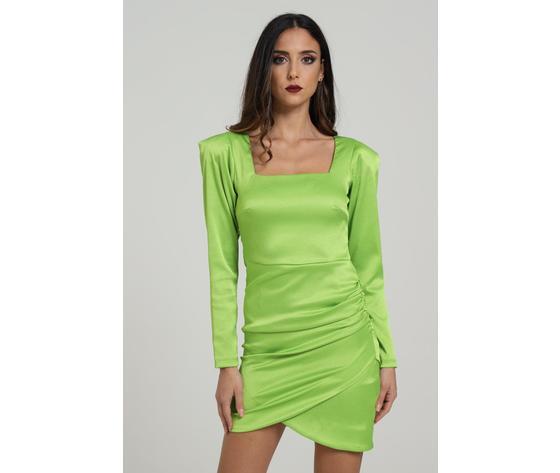 Abito corto con arriccio laterale verde lime marc ellis art. wmedr6882
