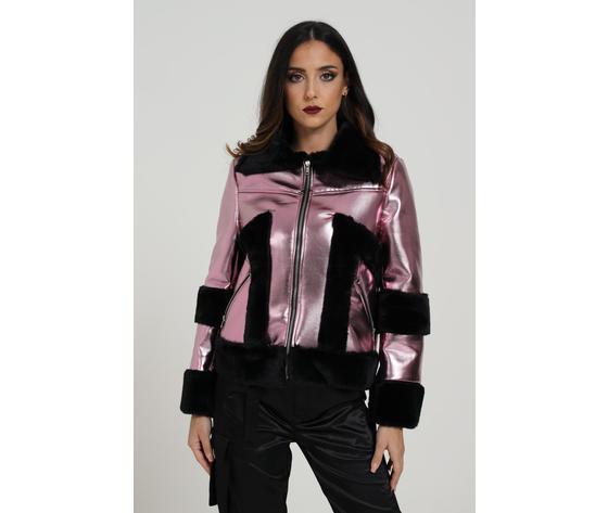 Giubbotto donna laminato rosa con pelliccia nera marc ellis art. wmejk6269