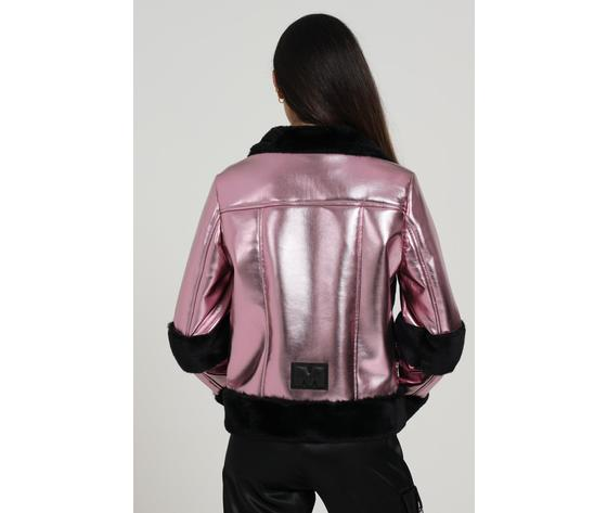 Giubbotto donna laminato rosa con pelliccia nera marc ellis art. wmejk6269 3