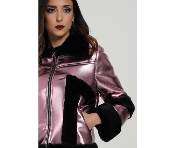 Giubbotto donna laminato rosa con pelliccia nera marc ellis art. wmejk6269 2