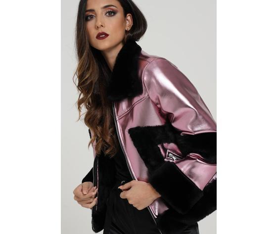 Giubbotto donna laminato rosa con pelliccia nera marc ellis art. wmejk6269 1