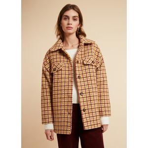 Cappotto Donna Corto FRNCH Beige Selvi Coat Check Collo A Camicia art. F11083