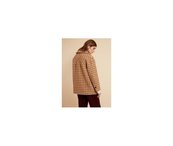 Cappotto donna corto frnch beige selvi coat check collo a camicia art. f11083 %285%29