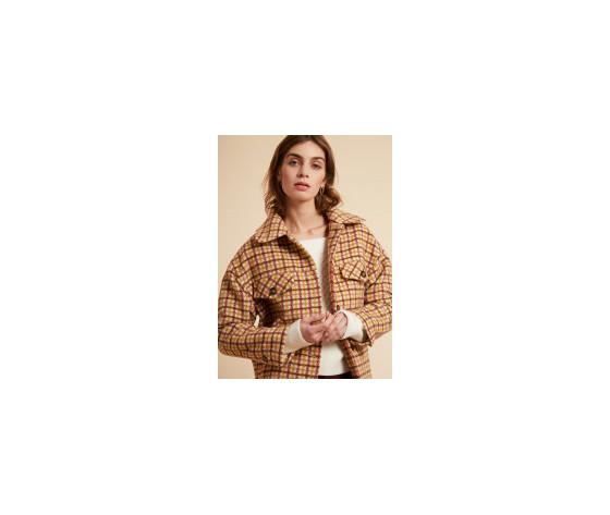 Cappotto donna corto frnch beige selvi coat check collo a camicia art. f11083 %284%29