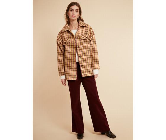 Cappotto donna corto frnch beige selvi coat check collo a camicia art. f11083 %282%29