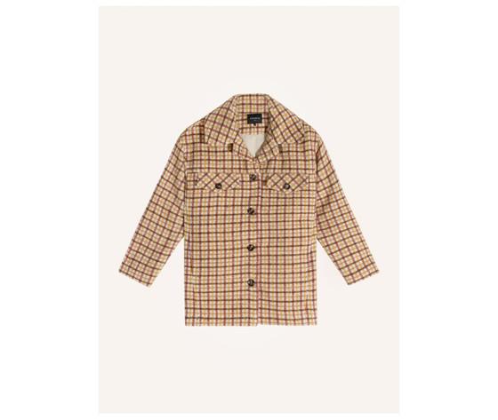 Cappotto donna corto frnch beige selvi coat check collo a camicia art. f11083 %281%29