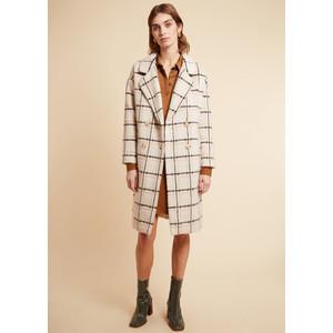 Cappotto Donna FRNCH Con Revers A Quadri In misto Lana Beige Scarlet Coat art. F11080