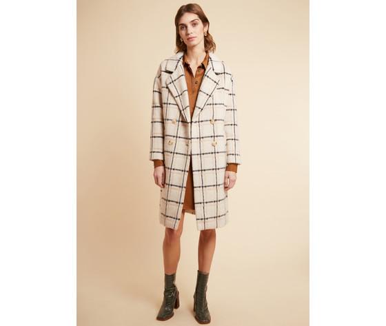 Cappotto donna frnch con revers a quadri in misto lana beige scarlet coat art. f11080 %28 %283%29
