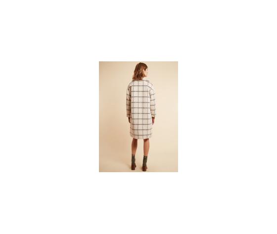 Cappotto donna frnch con revers a quadri in misto lana beige scarlet coat art. f11080 %28 %285%29