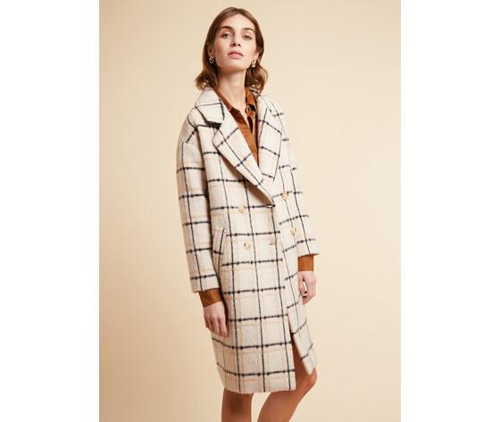 Cappotto donna frnch con revers a quadri in misto lana beige scarlet coat art. f11080 %28 %284%29