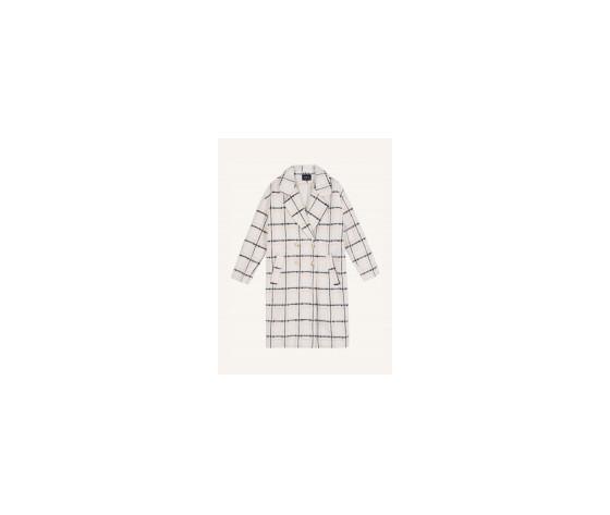 Cappotto donna frnch con revers a quadri in misto lana beige scarlet coat art. f11080 %281%29