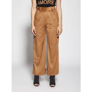 Pantalone Donna Color Tabacco Effetto Suede Scamosciato Con Cinta Giulia N art. GI2083