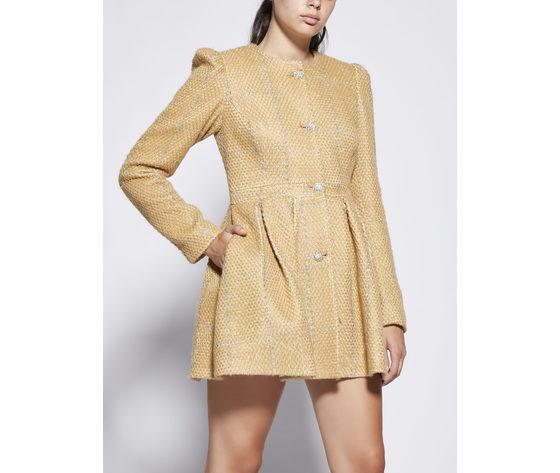 Cappotto donna color sabbia con pieghe godet giulia n righe argento art. gi2077 %281%29