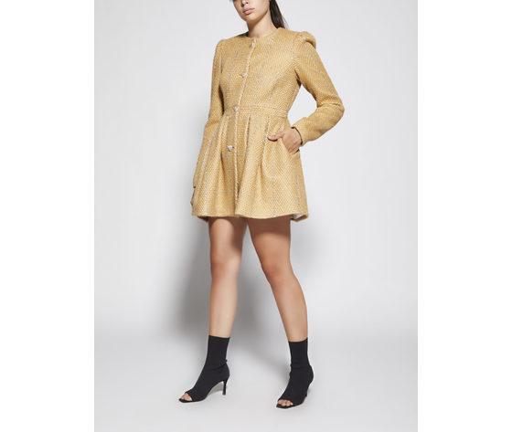 Cappotto donna color sabbia con pieghe godet giulia n righe argento art. gi2077 %282%29