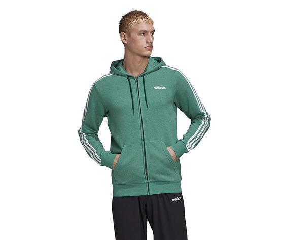 Felpa con cappuccio adidas essentials verde full zip 3 stripes art. fm6090