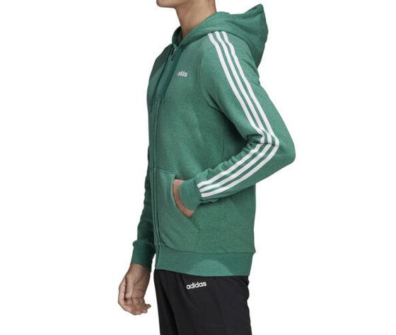 Felpa con cappuccio adidas essentials verde full zip 3 stripes art. fm6090 1
