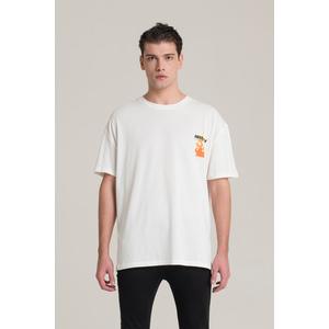 T-Shirt I'm Brian Bianca Oversize Con Stampa Fiamme art. TS1430