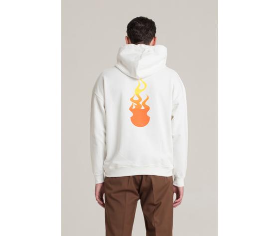 Felpa con cappuccio i'm brian oversize bianca con stampa fiamme art. f1429 2