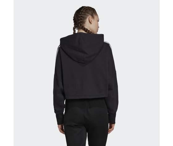 Felpa con cappuccio nera adidas hoodie cropped art. ed7554 1