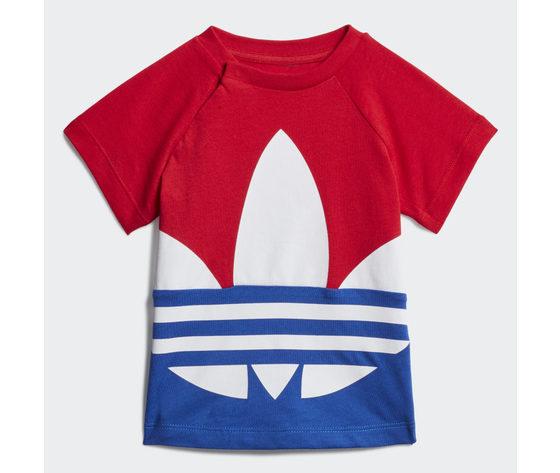 T shirt bambino adidas trefoil large rosso bianco blu art. ge1968