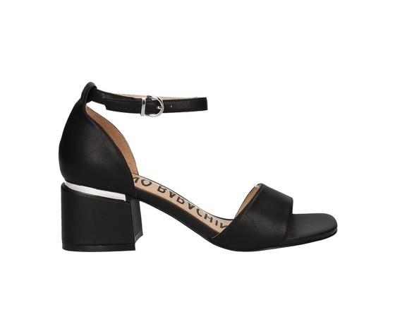 Sandalo nero tacco basso luciano barachini art. ee144l