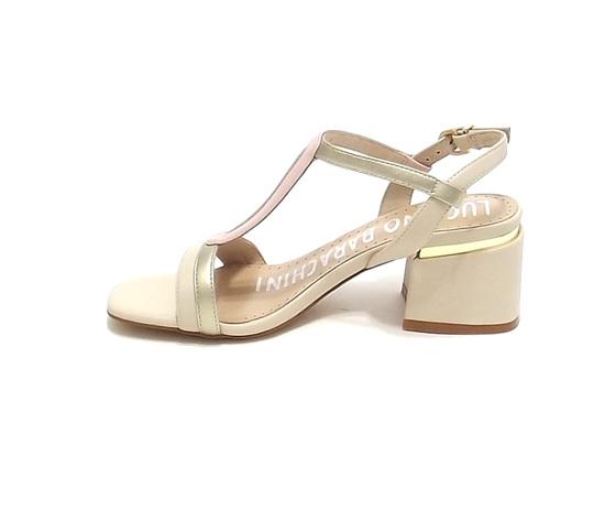 Sandalo donna tacco basso cipria luciano barachini art. ee143n