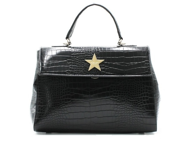 Shop art borsa maxi stampa coccodrillo nera art. sa030136