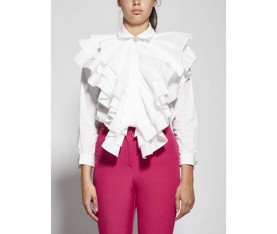 Giulia n body camicia donna con rouches panna art. gi2034