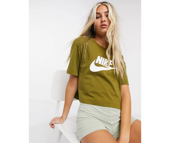 Nike crop verde essential donna maglia corta sportswear art. bv6175 368 %283%29