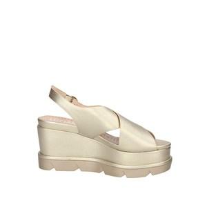 Sandalo Con Zeppone Platino Fascia Ad Incrocio Con Cinturino Luciano Barachini art. EE102P