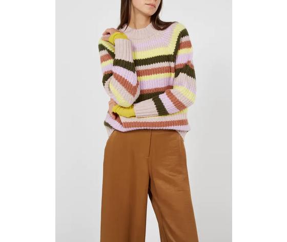 Frnch maglione donna scollo tondo a righe multicolor art %281%29