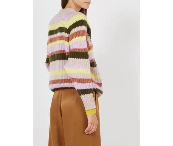 Frnch maglione donna scollo tondo a righe multicolor art %282%29