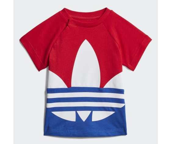 T-Shirt Bambino Adidas Trefoil Large Rosso Bianco Blu art. GE1968